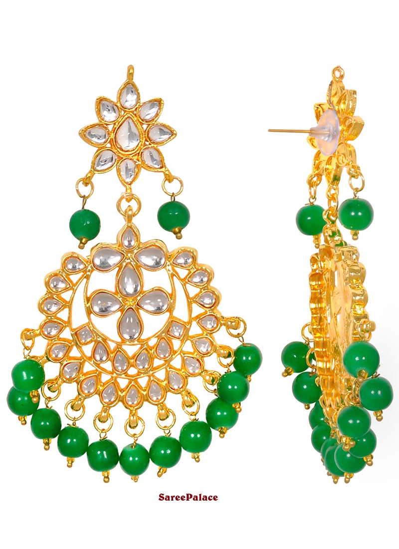 Moti Ear Rings in Gold and Green