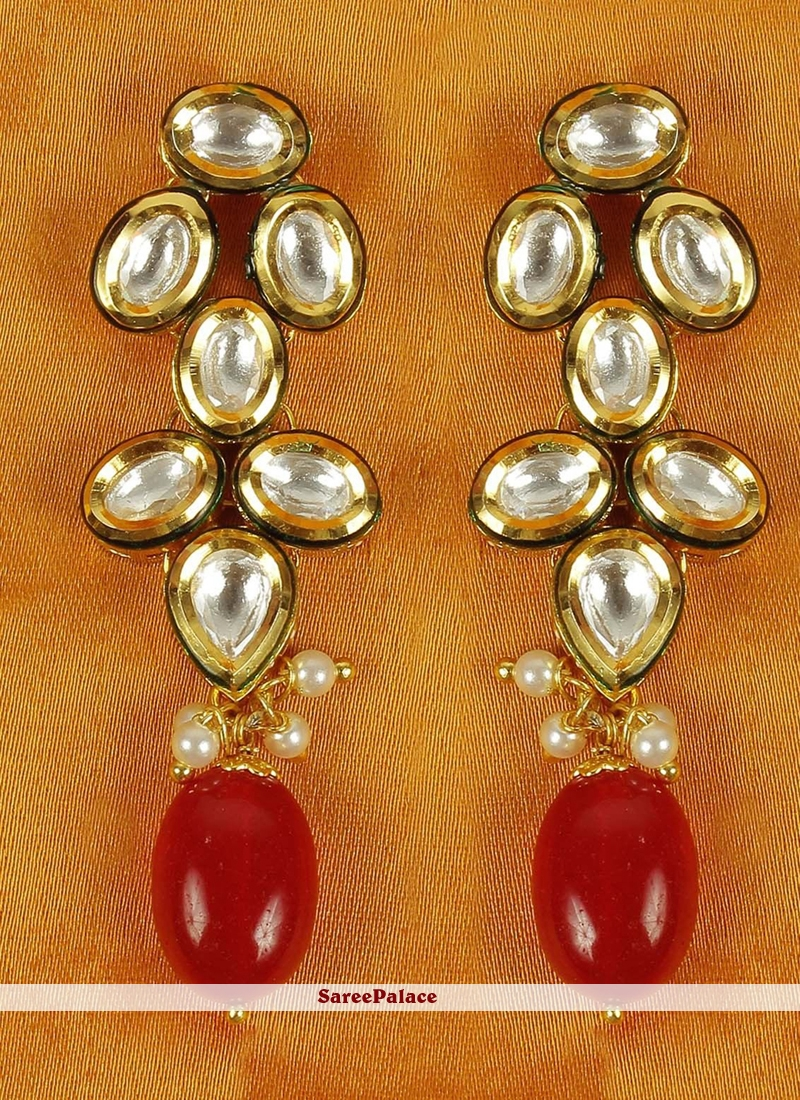 Moti Ear Rings in Gold and Red