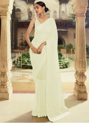 Moti Georgette Off White Classic Designer Saree