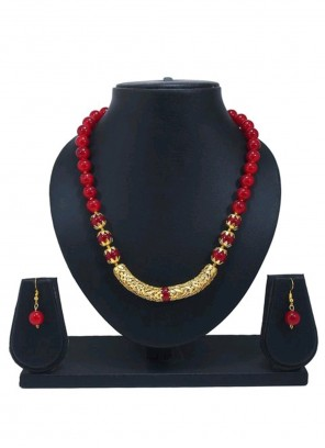 Moti Gold and Red Necklace Set