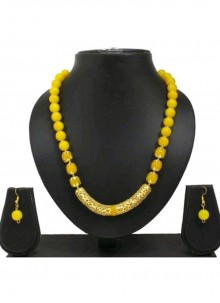 Moti Gold and Yellow Necklace Set