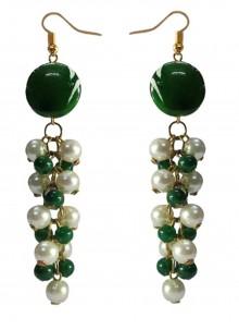 Moti Green and White Ear Rings
