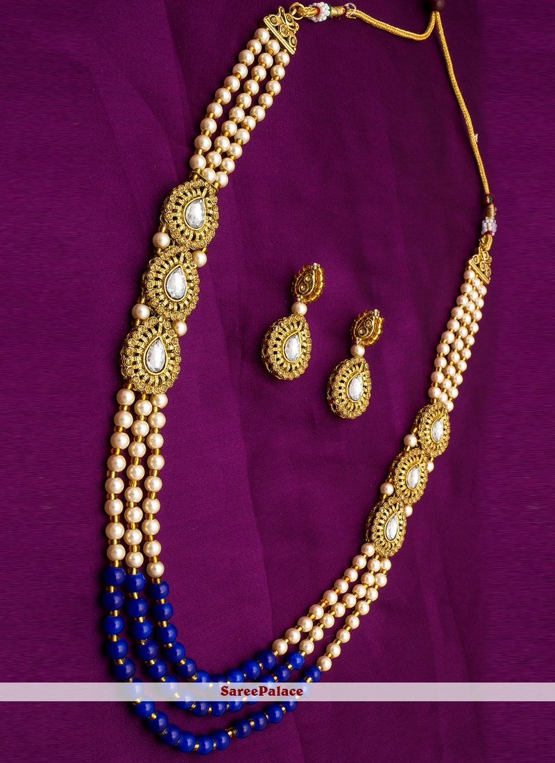 Moti Necklace Set in Blue and Gold