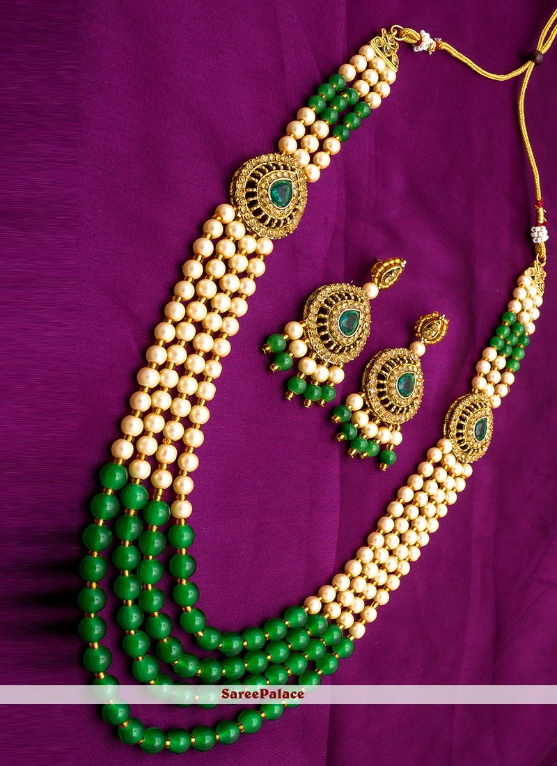 Moti Necklace Set in Gold and Green