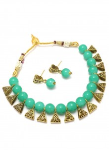 Moti Necklace Set in Gold and Turquoise