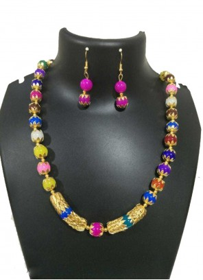 Moti Necklace Set in Multi Colour