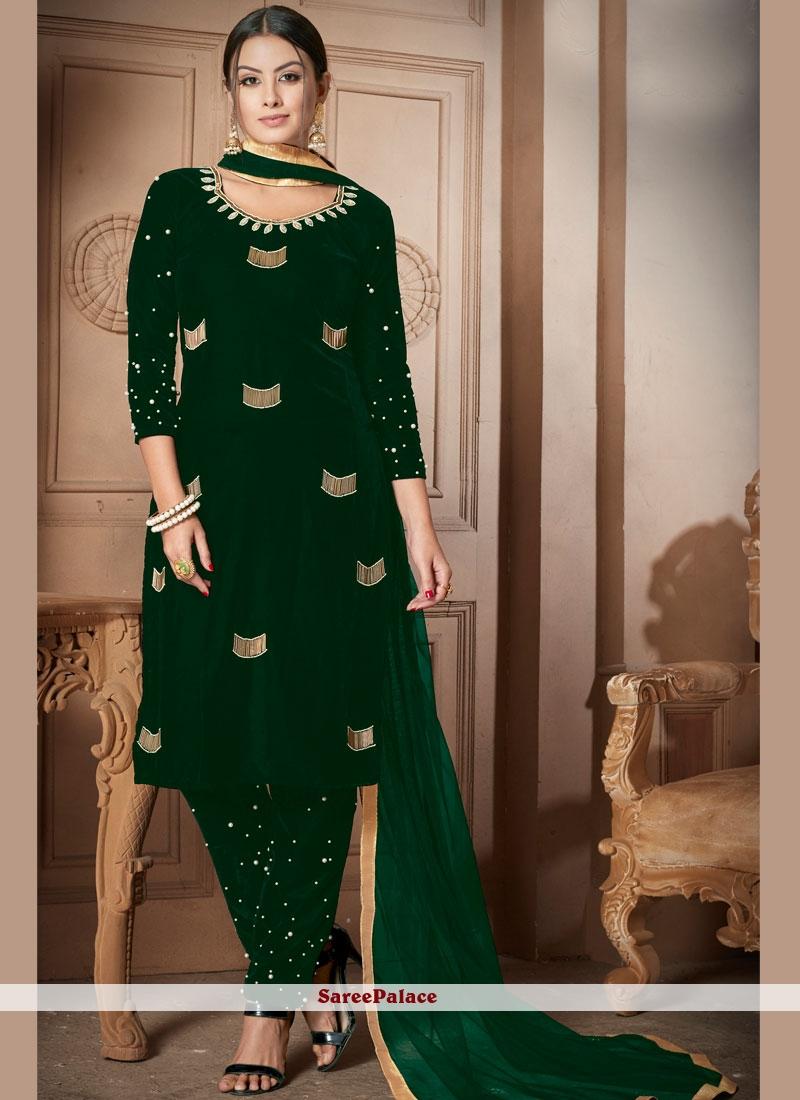 Buy Moti Velvet Green Designer Salwar Suit Online