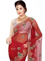 Moti Work Red Classic Designer Saree
