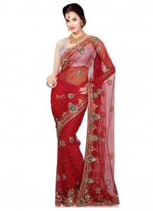 Moti Work Red Classic Designer Saree