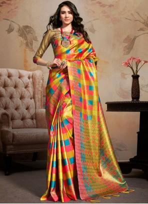 Multi Colour Abstract Print Art Silk Saree