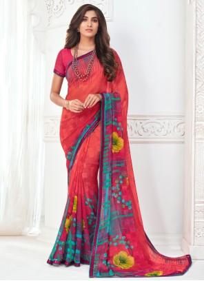 Multi Colour Abstract Print Casual Saree