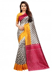 Multi Colour Abstract Print Casual Traditional Saree