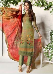 Multi Colour Abstract Print Churidar Designer Suit