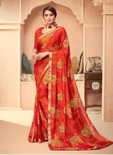 Multi Colour Abstract Print Classic Saree