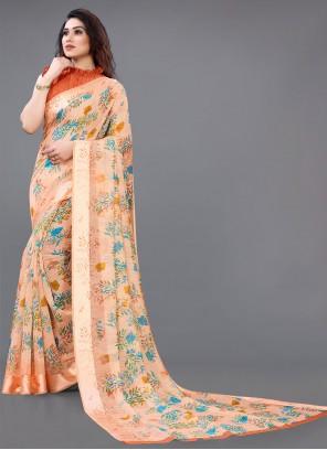 Multi Colour Abstract Print Cotton Saree