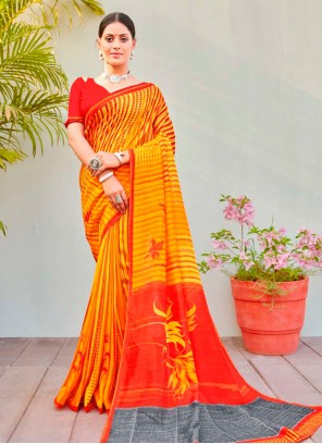 Multi Colour Abstract Print Cotton Silk Saree