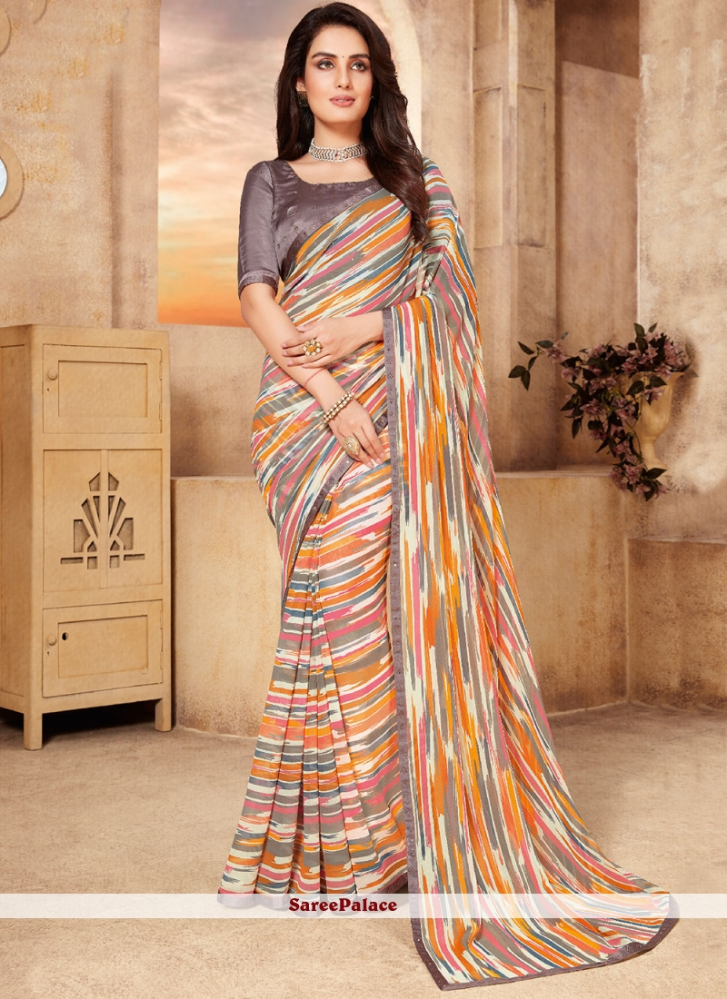 Multi Colour Abstract Print Faux Georgette Classic Saree
