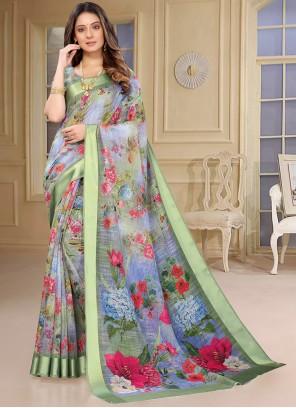 Multi Colour Abstract Print Linen Casual Saree