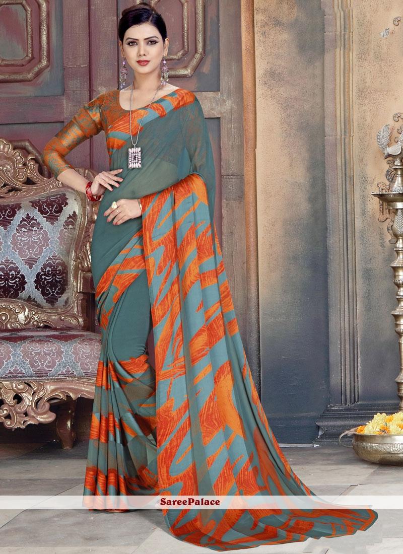 Multi Colour Abstract Printed Saree