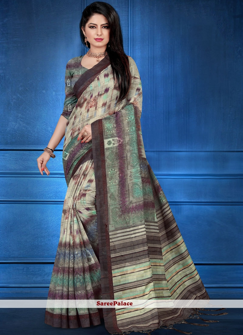 Multi Colour Abstract Print Traditional Designer Saree