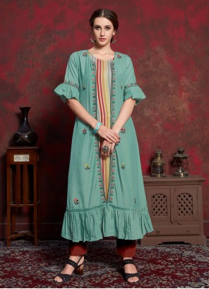 Multi Colour and Sea Green Embroidered Rayon Party Wear Kurti