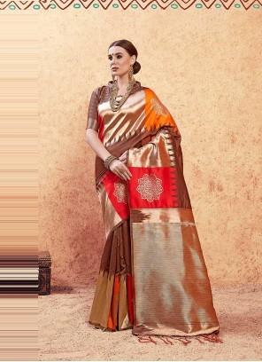 Multi Colour Art Silk Festival Traditional Designer Saree