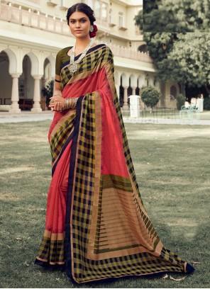 Multi Colour Art Silk Foil Print Traditional Saree