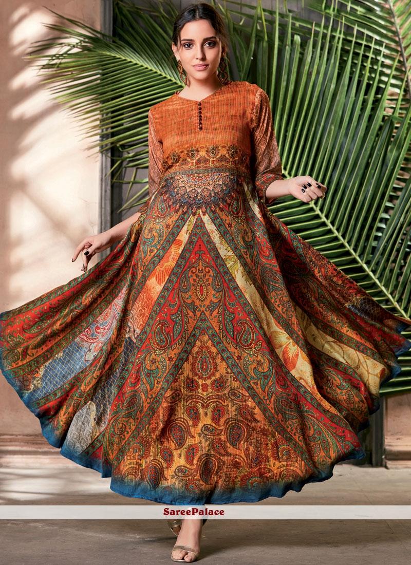 c220b2afde8 Buy Multi Colour Art Silk Print Party Wear Kurti Online