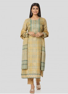 Multi Colour Art Silk Printed Salwar Kameez