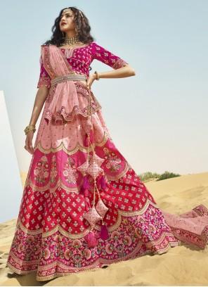 Multi Colour Art Silk Zari A Line Lehenga Choli