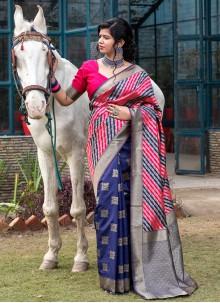Multi Colour Banarasi Silk Designer Traditional Saree