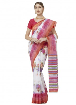Multi Colour Blended Cotton Printed Saree