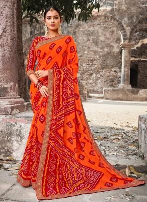 Multi Colour Border Ceremonial Contemporary Style Saree