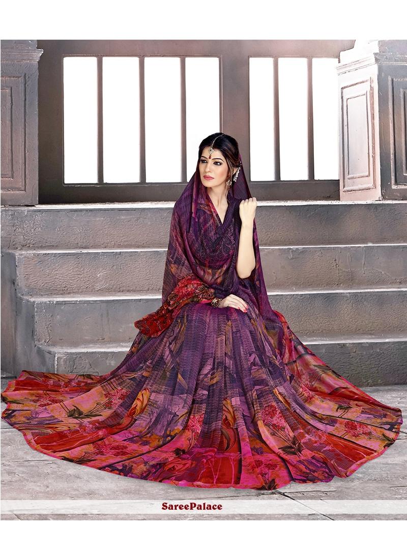 Multi Colour Faux Georgette Casual Saree