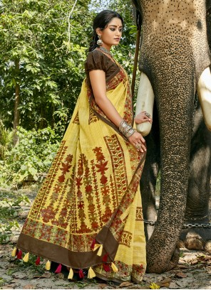 Multi Colour Casual Linen Printed Saree
