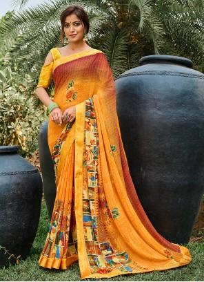 Multi Colour Casual Weight Less Printed Saree