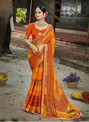 Multi Colour Ceremonial Faux Chiffon Printed Saree