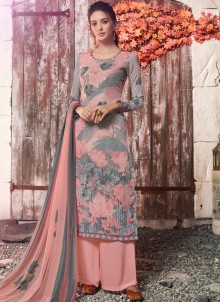 Multi Colour Ceremonial Faux Crepe Designer Pakistani Suit