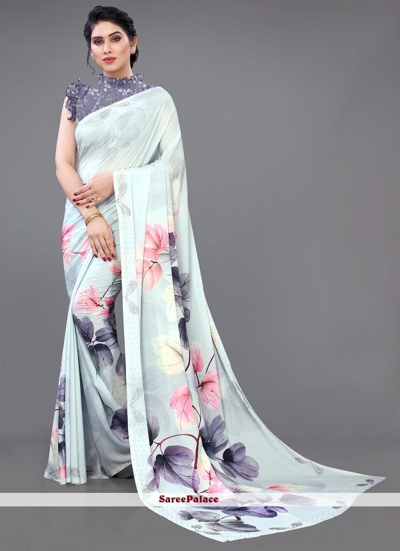 Multi Colour Ceremonial Georgette Satin Designer Saree