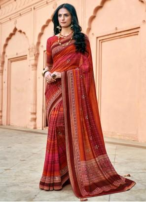 Multi Colour Ceremonial Printed Saree