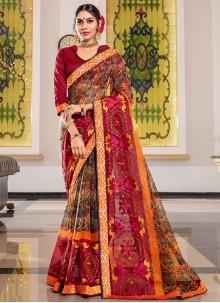 Multi Colour Ceremonial Super Net Designer Traditional Saree
