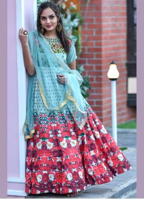 Multi Colour Chanderi Ceremonial Floor Length Anarkali Salwar Suit