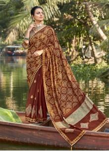 Multi Colour Chanderi Foil Print Printed Saree