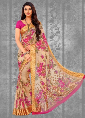 Multi Colour Chiffon Satin Casual Saree