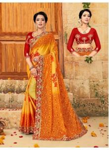 Multi Colour Faux Chiffon Designer Saree
