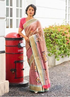 Multi Colour Linen Weaving Festival Traditional Saree
