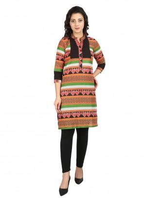Multi Colour Cotton Designer Kurti