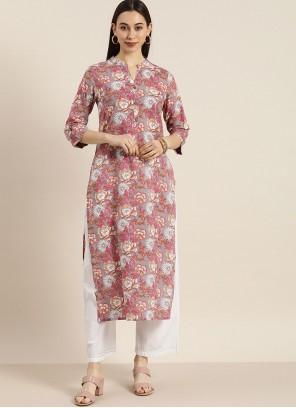 Multi Colour Cotton Fancy Party Wear Kurti