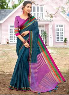 Multi Colour Cotton Party Designer Saree