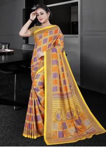 Multi Colour Cotton Party Printed Saree